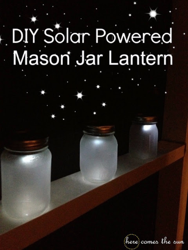Mason Jar Crafts You Can Make In Under an Hour - DIY Solar Powered Mason Jar Lantern - Quick Mason Jar DIY Projects that Make Cool Home Decor and Awesome DIY Gifts - Best Creative Ideas for Mason Jars with Step By Step Tutorials and Instructions - For Teens, For Home, For Gifts, For Kids, For Summer, For Fall  #masonjarcrafts #easycrafts