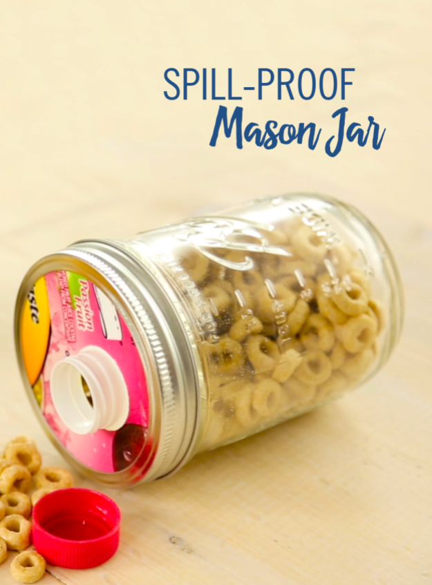 Mason Jar Crafts You Can Make In Under an Hour - DIY Spill Proof Mason Jar - Quick Mason Jar DIY Projects that Make Cool Home Decor and Awesome DIY Gifts - Best Creative Ideas for Mason Jars with Step By Step Tutorials and Instructions - For Teens, For Home, For Gifts, For Kids, For Summer, For Fall  #masonjarcrafts #easycrafts