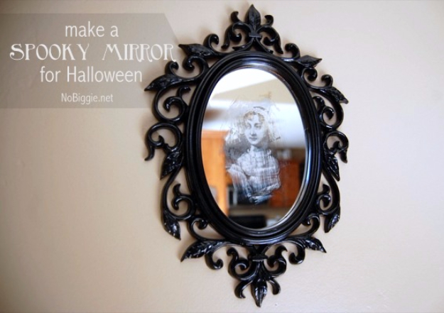 DIY Halloween Decorations - DIY Spooky Halloween Mirror - Best Easy, Cheap and Quick Halloween Decor Ideas and Crafts for Inside and Outside Your Home - Scary, Creepy Cute and Fun Outdoor Project Tutorials