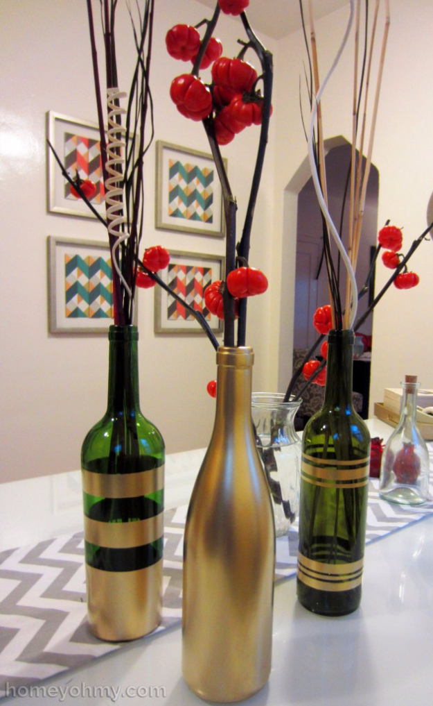 33 Cool DIYs With Spray Paint - DIY Spray Painted Wine Bottles - Easy Spray Paint Decor, Fun Do It Yourself Spray Paint Ideas, Cool Spray Paint Projects To Try, Upcycled And Repurposed, Restore Old Items With Spray Paint