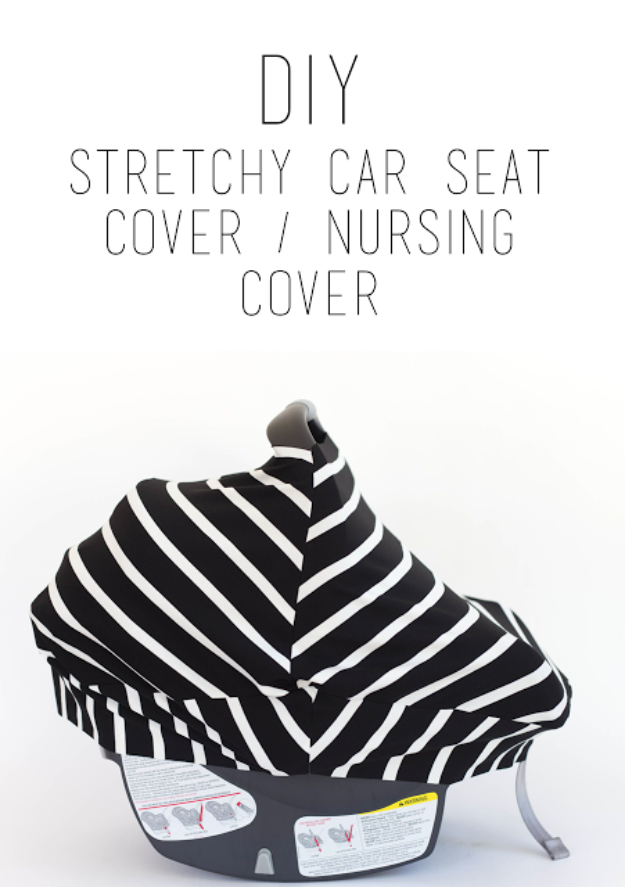 51 Things to Sew for Baby - DIY Stretchy Car Seat Cover - Cool Gifts For Baby, Easy Things To Sew And Sell, Quick Things To Sew For Baby, Easy Baby Sewing Projects For Beginners, Baby Items To Sew And Sell #baby #diy #diygifts