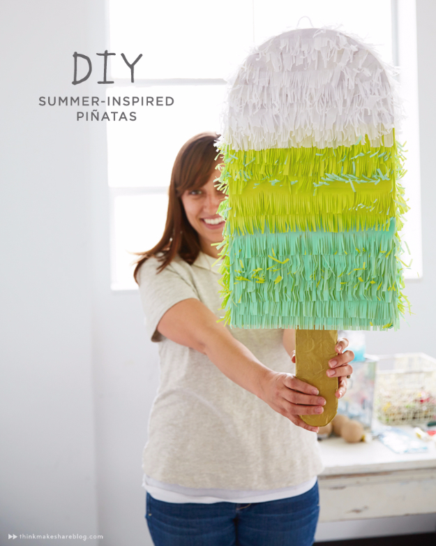 39 Easy DIY Party Decorations - DIY Summer Inspired Pinata - Quick And Cheap Party Decors, Easy Ideas For DIY Party Decor, Birthday Decorations, Budget Do It Yourself Party Decorations #diyparties #party #partydecor #parties