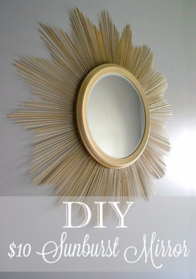 Easy Dollar Store Crafts - DIY Sunburst Mirror - Quick And Cheap Crafts To Make, Dollar Store Craft Ideas To Make And Sell, Cute Dollar Store Do It Yourself Projects, Cheap Craft Ideas, Dollar store Decor,
