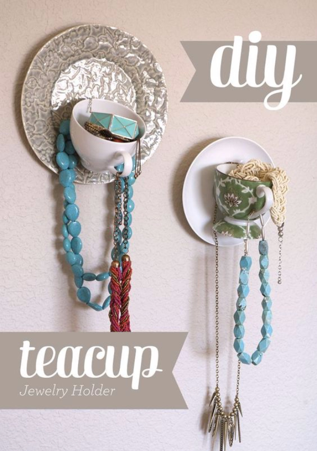 DIY Projects With Old Plates and Dishes - DIY Teacup Jewelry Display - Creative Home Decor for Rustic, Vintage and Farmhouse Looks. Upcycle With These Best Crafts and Project Tutorials #diy #kitchen #crafts