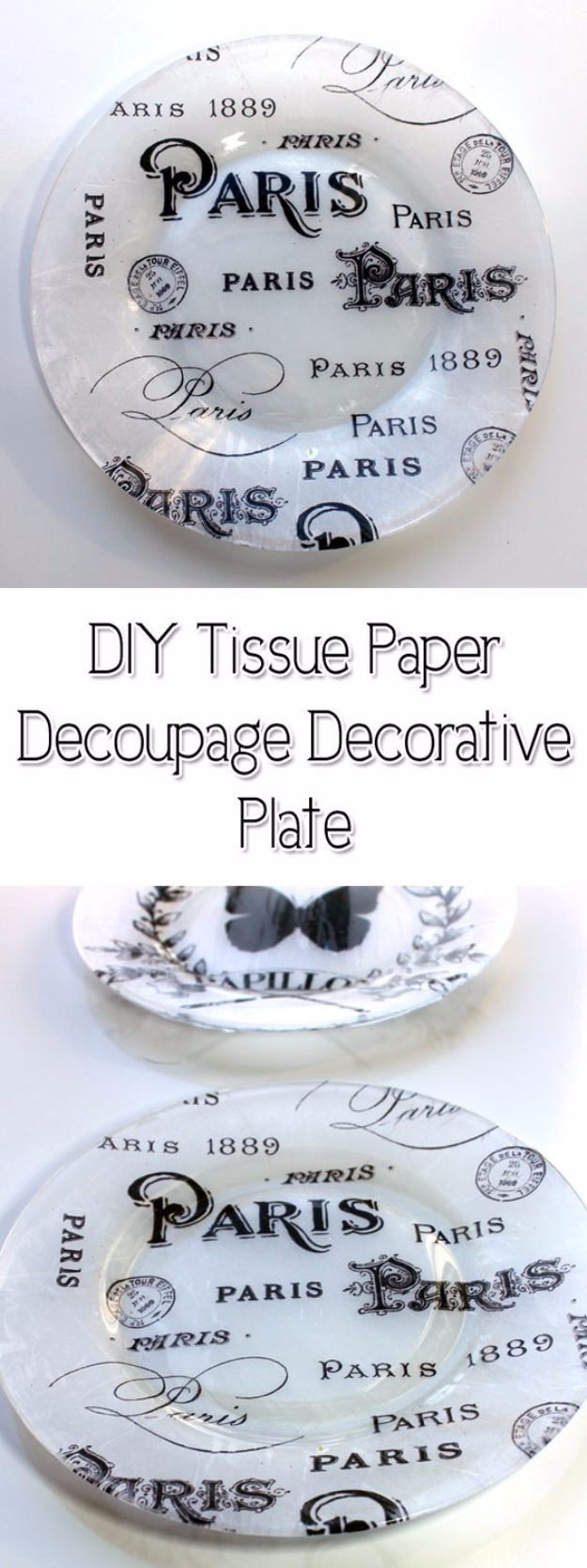 DIY Projects With Old Plates and Dishes - DIY Tissue Paper Decoupage Decorative Plate - Creative Home Decor for Rustic, Vintage and Farmhouse Looks. Upcycle With These Best Crafts and Project Tutorials #diy #kitchen #crafts