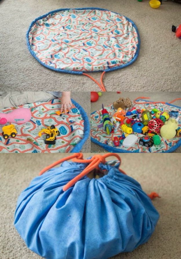 DIY Gifts for Babies - DIY Toy Bag Playmat - Best DIY Gift Ideas for Baby Boys and Girls - Creative Projects to Sew, Make and Sell, Gift Baskets, Diaper Cakes and Presents for Baby Showers and New Parents. Cool Christmas and Birthday Ideas #diy #babygifts #diygifts #baby