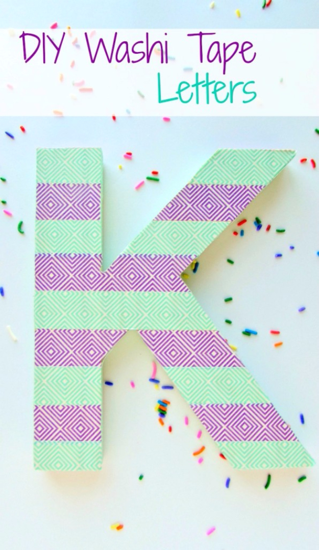 42 DIY Room Decor for Girls - DIY Washi Tape Letters - Awesome Do It Yourself Room Decor For Girls, Room Decorating Ideas, Creative Room Decor For Girls, Bedroom Accessories, Cute Room Decor For Girls