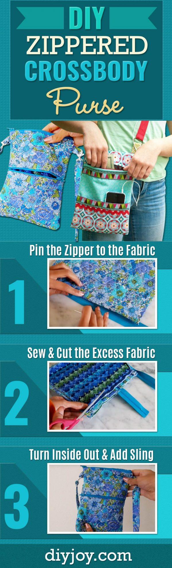 How to Make A Zippered Crossbody Bag