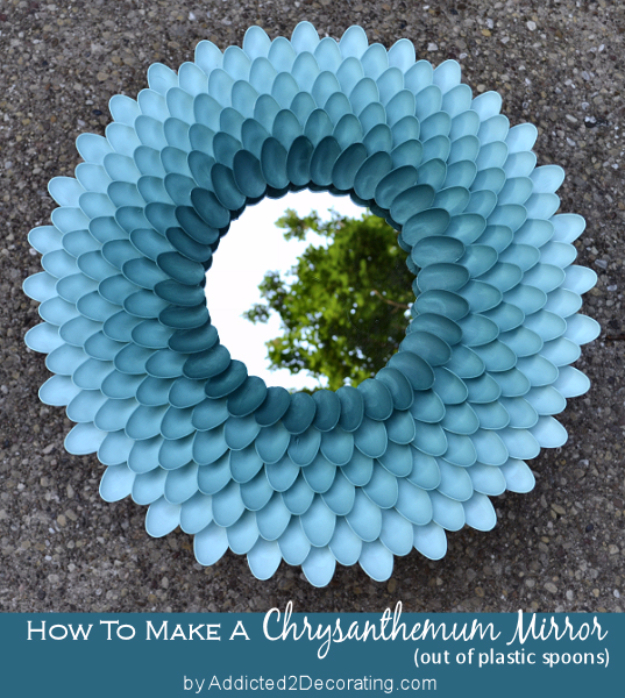 42 DIY Room Decor for Girls - Decorative Chrysanthemum Mirror - Awesome Do It Yourself Room Decor For Girls, Room Decorating Ideas, Creative Room Decor For Girls, Bedroom Accessories, Cute Room Decor For Girls