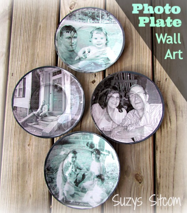 Easy Dollar Store Crafts - Decoupage Photograph Plates - Quick And Cheap Crafts To Make, Dollar Store Craft Ideas To Make And Sell, Cute Dollar Store Do It Yourself Projects, Cheap Craft Ideas, Dollar Sore Decor,