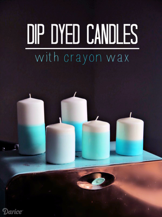 Easy Dollar Store Crafts - Dip Dyed Candles With Crayon Wax - Quick And Cheap Crafts To Make, Dollar Store Craft Ideas To Make And Sell, Cute Dollar Store Do It Yourself Projects, Cheap Craft Ideas, Dollar store Decor,