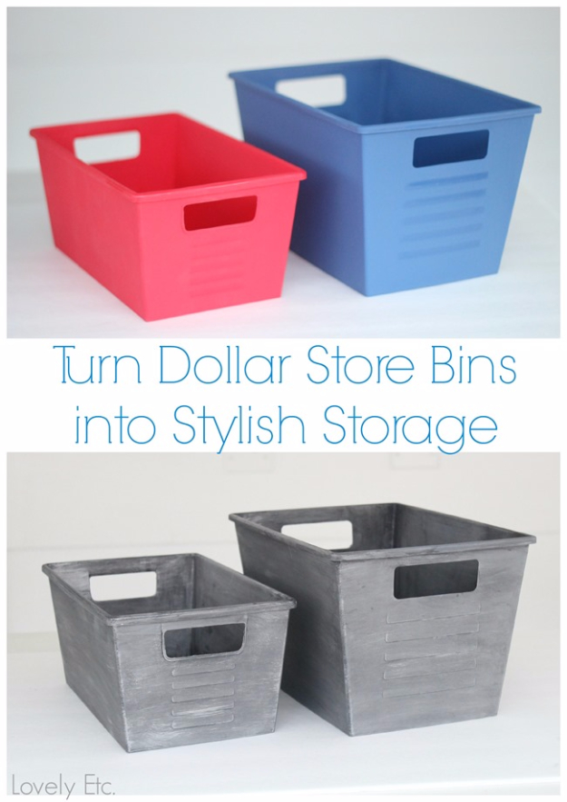 Easy Dollar Store Crafts - Dollar Store Bins Turned Stylish With Paint - Quick And Cheap Crafts To Make, Dollar Store Craft Ideas To Make And Sell, Cute Dollar Store Do It Yourself Projects, Cheap Craft Ideas, Dollar Sore Decor,