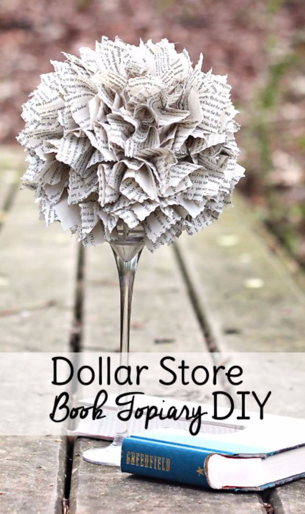 Easy Dollar Store Crafts - Dollar Store Book Topiary DIY - Quick And Cheap Crafts To Make, Dollar Store Craft Ideas To Make And Sell, Cute Dollar Store Do It Yourself Projects, Cheap Craft Ideas, Dollar Sore Decor,