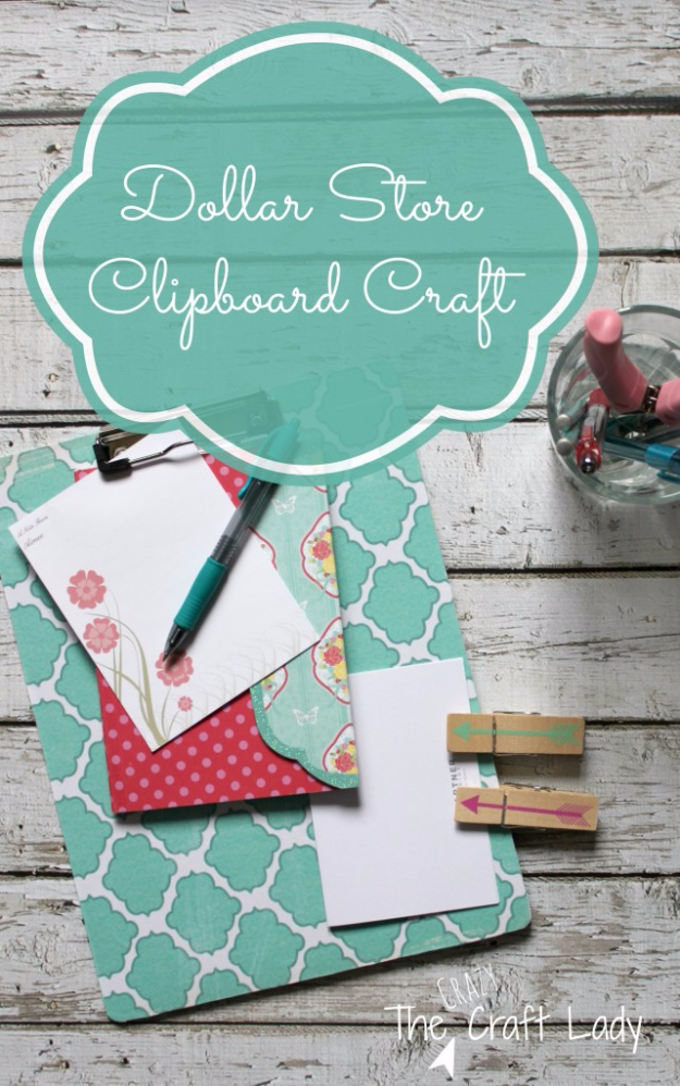 Easy Dollar Store Crafts - Dollar Store Clipboard Craft - Quick And Cheap Crafts To Make, Dollar Store Craft Ideas To Make And Sell, Cute Dollar Store Do It Yourself Projects, Cheap Craft Ideas, Dollar Sore Decor,