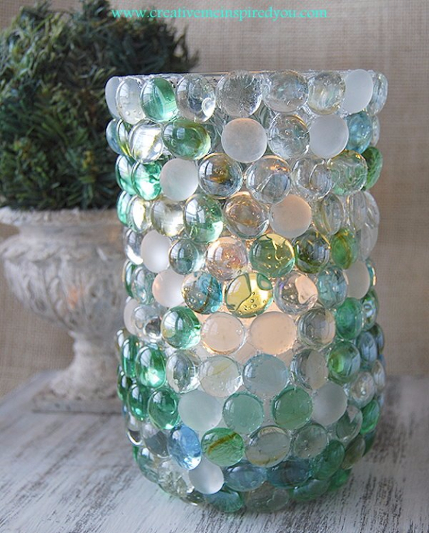 Easy Dollar Store Crafts - Dollar Store Glass Bead Vase - Quick And Cheap Crafts To Make, Dollar Store Craft Ideas To Make And Sell, Cute Dollar Store Do It Yourself Projects, Cheap Craft Ideas, Dollar Sore Decor,
