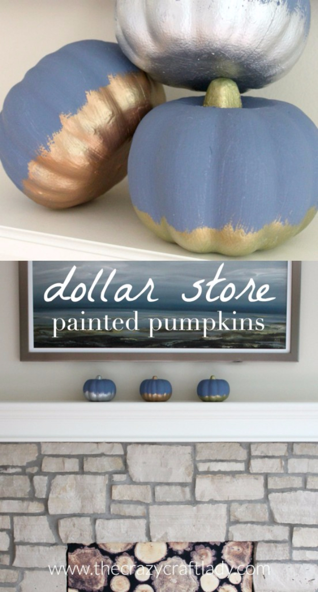 Easy Dollar Store Crafts - Dollar Store Painted Pumpkins - Quick And Cheap Crafts To Make, Dollar Store Craft Ideas To Make And Sell, Cute Dollar Store Do It Yourself Projects, Cheap Craft Ideas, Dollar Sore Decor,
