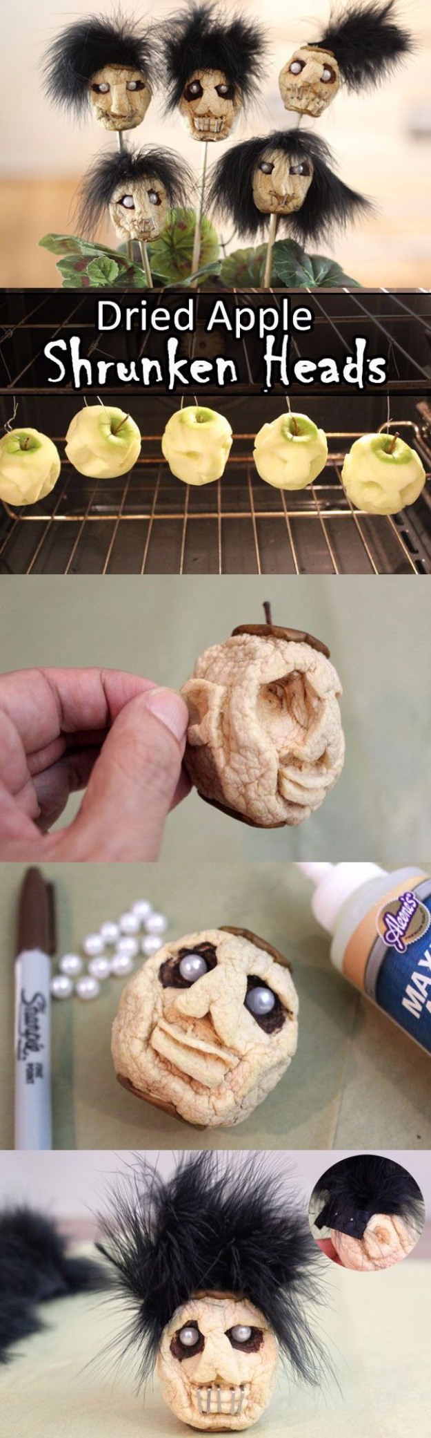 DIY Halloween Decorations - Dried Apple Shrunken Heads - Best Easy, Cheap and Quick Halloween Decor Ideas and Crafts for Inside and Outside Your Home - Scary, Creepy Cute and Fun Outdoor Project Tutorials