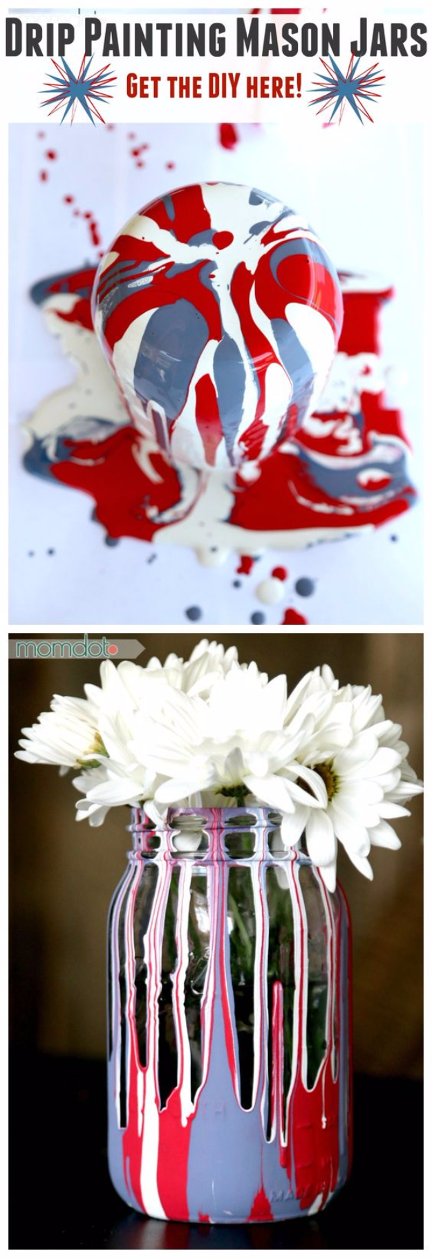 Mason Jar Crafts You Can Make In Under an Hour - Drip Painting Mason Jars DIY -Quick Mason Jar DIY Projects that Make Cool Home Decor and Awesome DIY Gifts - Best Creative Ideas for Mason Jars with Step By Step Tutorials and Instructions - For Teens, For Home, For Gifts, For Kids, For Summer, For Fall  #masonjarcrafts #easycrafts
