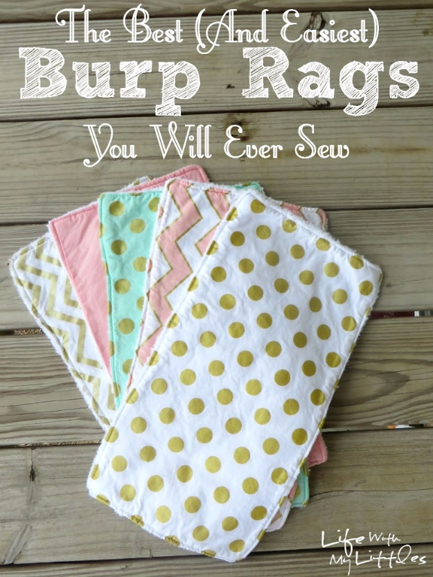 51 Things to Sew for Baby - Easiest Burp Rags To Sew - Cool Gifts For Baby, Easy Things To Sew And Sell, Quick Things To Sew For Baby, Easy Baby Sewing Projects For Beginners, Baby Items To Sew And Sell #baby #diy #diygifts