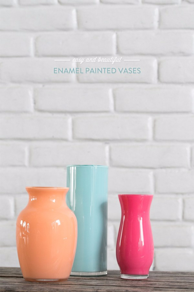 Easy Dollar Store Crafts - Easy And Beautiful Enamel Painted Vases - Quick And Cheap Crafts To Make, Dollar Store Craft Ideas To Make And Sell, Cute Dollar Store Do It Yourself Projects, Cheap Craft Ideas, Dollar Sore Decor,