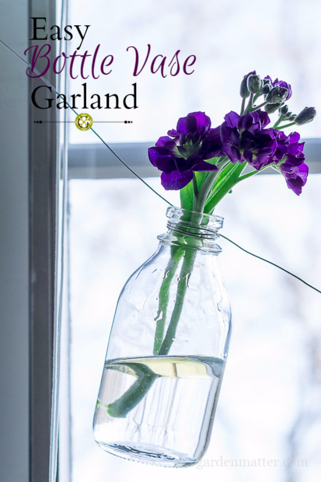 Easy Dollar Store Crafts - Easy Bottle Vase Garland - Quick And Cheap Crafts To Make, Dollar Store Craft Ideas To Make And Sell, Cute Dollar Store Do It Yourself Projects, Cheap Craft Ideas, Dollar store Decor,