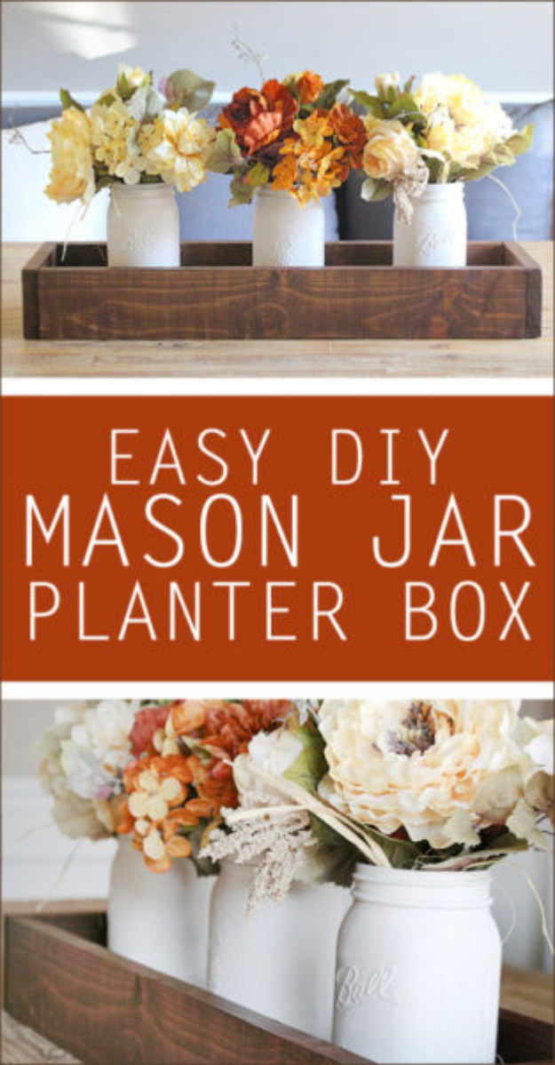 Best Mason Jar Crafts for Fall - Easy DIY Mason Jar Planter Box - DIY Mason Jar Ideas for Centerpieces, Wedding Decorations, Homemade Gifts, Craft Projects with Leaves, Flowers and Burlap, Painted Art, Candles and Luminaries for Cool Home Decor