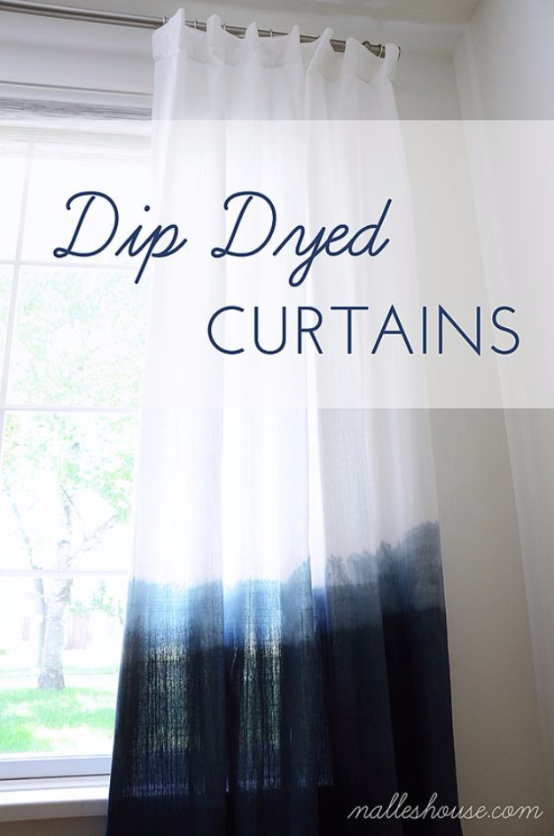 42 DIY Room Decor for Girls - Easy Dip Dyed Curtains - Awesome Do It Yourself Room Decor For Girls, Room Decorating Ideas, Creative Room Decor For Girls, Bedroom Accessories, Cute Room Decor For Girls