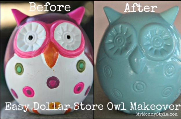 Easy Dollar Store Crafts - Easy Dollar Store Owl Bank Makeover - Quick And Cheap Crafts To Make, Dollar Store Craft Ideas To Make And Sell, Cute Dollar Store Do It Yourself Projects, Cheap Craft Ideas, Dollar store Decor,