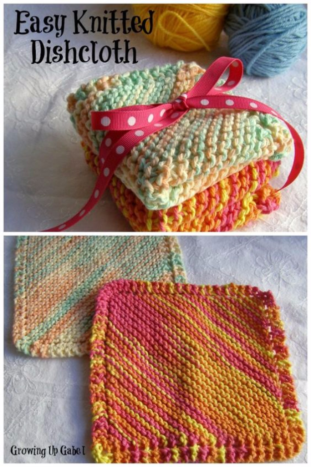 32 Easy Knitted Gifts - Easy Knit Dishcloth - Last Minute Knitted Gifts, Best Knitted Gifts For Anyone, Easy Knitted Gifts To Make, Knitted Gifts For Friends, Easy Knitting Patterns For Beginners, Quick Knitting Ideas #knitting #gifts #diygifts