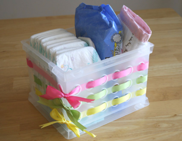 Easy Dollar Store Crafts - Embellished Plastic Container - Quick And Cheap Crafts To Make, Dollar Store Craft Ideas To Make And Sell, Cute Dollar Store Do It Yourself Projects, Cheap Craft Ideas, Dollar store Decor,