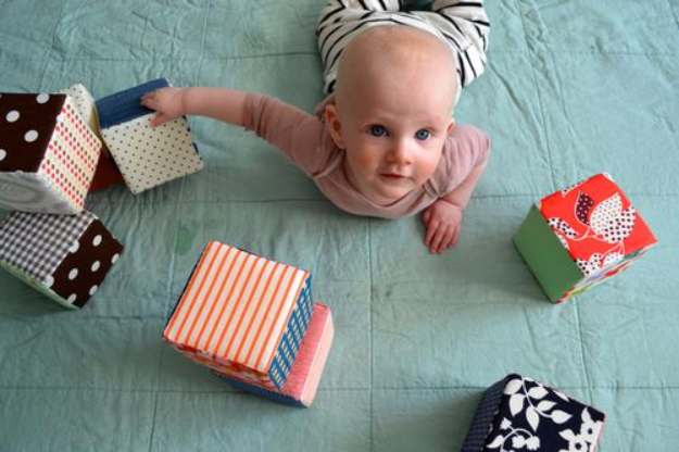 DIY Gifts for Babies - Fabric Baby Blocks - Best DIY Gift Ideas for Baby Boys and Girls - Creative Projects to Sew, Make and Sell, Gift Baskets, Diaper Cakes and Presents for Baby Showers and New Parents. Cool Christmas and Birthday Ideas #diy #babygifts #diygifts #baby