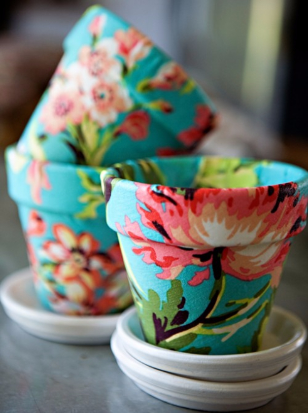 DIY Gifts for Mom -Inexpensive Terra Cotta Decoupage Fabric Pots- Best Craft Projects and Gift Ideas You Can Make for Your Mother - Last Minute Presents for Birthday and Christmas - Creative Photo Projects, Bath Ideas, Thoughtful Things to Give Moms