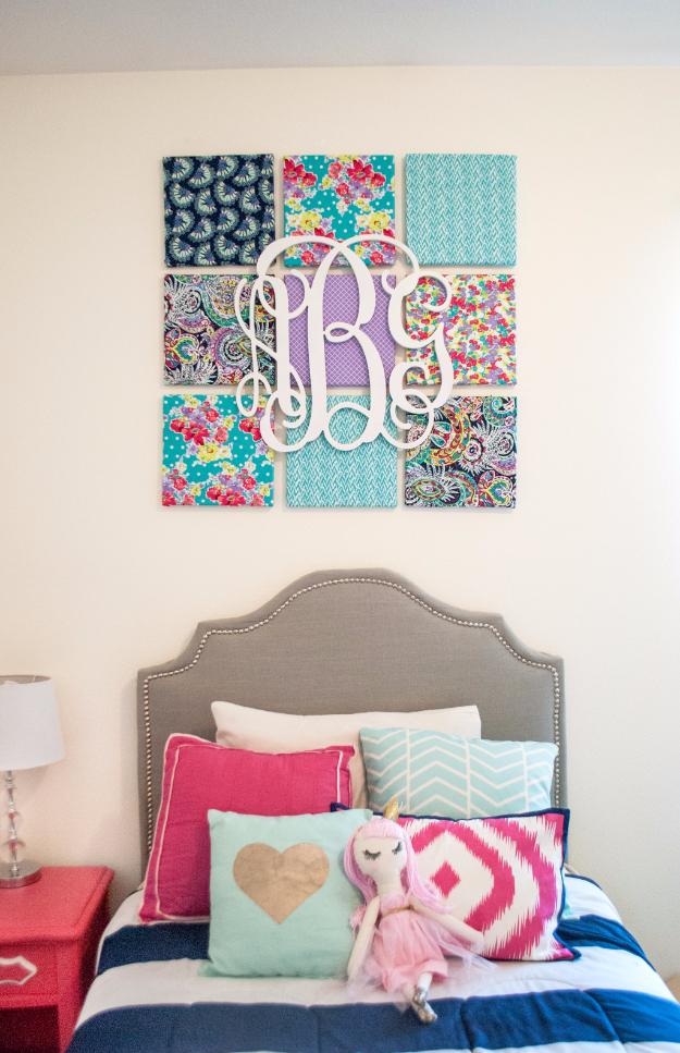 42 DIY Room Decor for Girls - Fabric Wall Art DIY - Awesome Do It Yourself Room Decor For Girls, Room Decorating Ideas, Creative Room Decor For Girls, Bedroom Accessories, Cute Room Decor For Girls