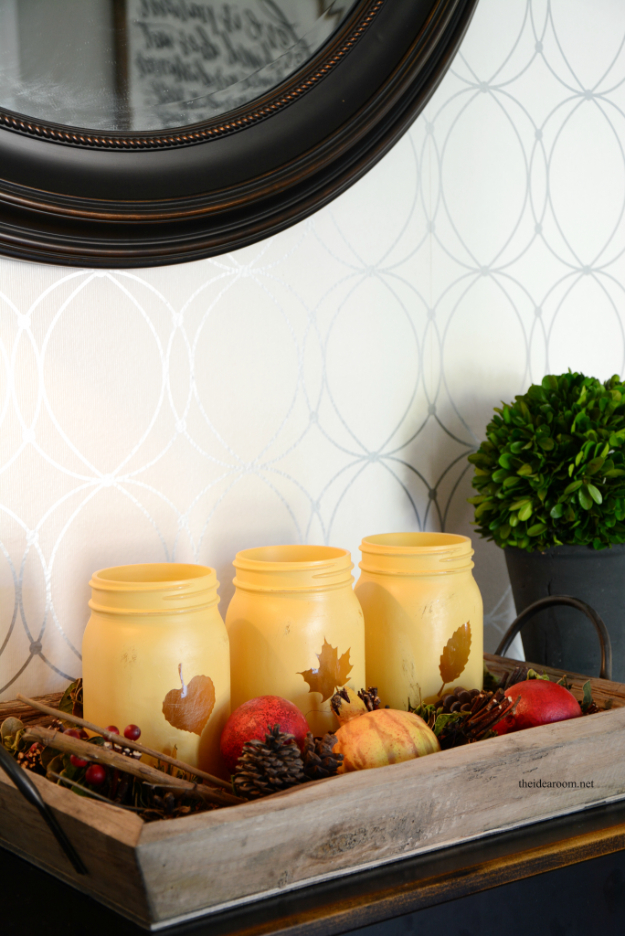Best Mason Jar Crafts for Fall - Fall Decor Painted Mason Jar - DIY Mason Jar Ideas for Centerpieces, Wedding Decorations, Homemade Gifts, Craft Projects with Leaves, Flowers and Burlap, Painted Art, Candles and Luminaries for Cool Home Decor