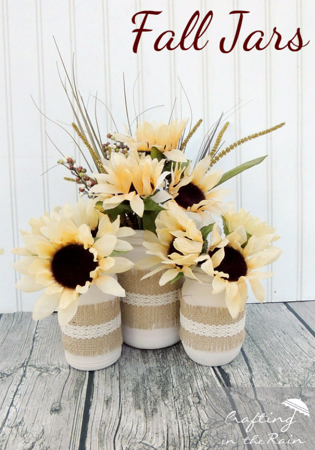 Best Mason Jar Crafts for Fall - Fall Jars With Dollar Store Flowers - DIY Mason Jar Ideas for Centerpieces, Wedding Decorations, Homemade Gifts, Craft Projects with Leaves, Flowers and Burlap, Painted Art, Candles and Luminaries for Cool Home Decor