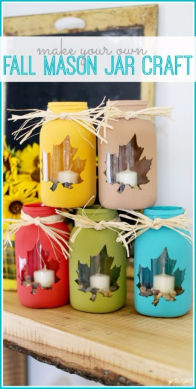 Best Mason Jar Crafts for Fall - Fall Mason Jar Craft - DIY Mason Jar Ideas for Centerpieces, Wedding Decorations, Homemade Gifts, Craft Projects with Leaves, Flowers and Burlap, Painted Art, Candles and Luminaries for Cool Home Decor