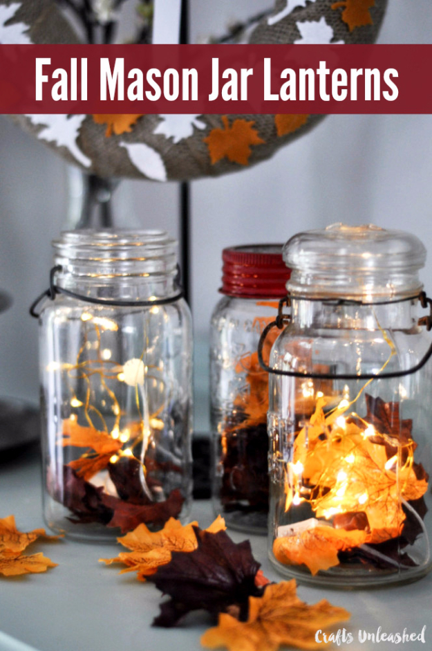 Best Mason Jar Crafts for Fall - Fall Mason Jar Lanterns - DIY Mason Jar Ideas for Centerpieces, Wedding Decorations, Homemade Gifts, Craft Projects with Leaves, Flowers and Burlap, Painted Art, Candles and Luminaries for Cool Home Decor