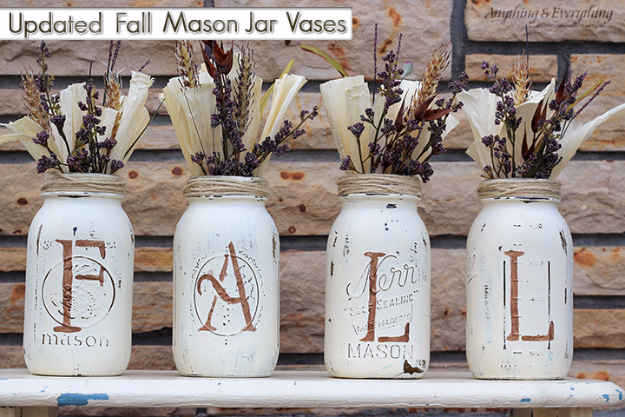 Best Mason Jar Crafts for Fall - Fall Mason Jar Vases - DIY Mason Jar Ideas for Centerpieces, Wedding Decorations, Homemade Gifts, Craft Projects with Leaves, Flowers and Burlap, Painted Art, Candles and Luminaries for Cool Home Decor