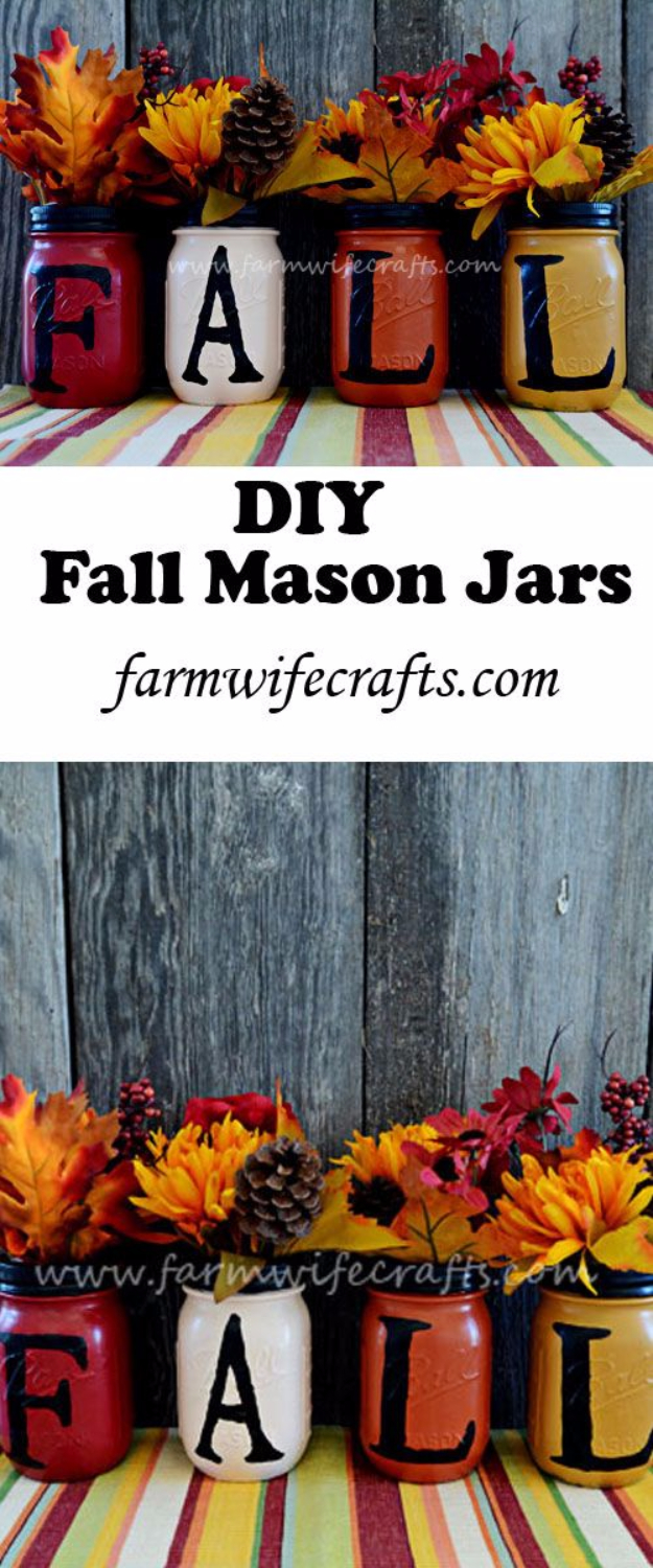 Best Mason Jar Crafts for Fall - Fall Mason Jars - DIY Mason Jar Ideas for Centerpieces, Wedding Decorations, Homemade Gifts, Craft Projects with Leaves, Flowers and Burlap, Painted Art, Candles and Luminaries for Cool Home Decor