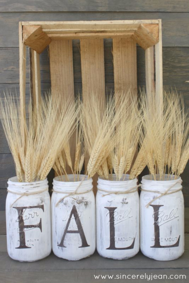 Best Mason Jar Crafts for Fall -Fall Rustic Mason Jars - DIY Mason Jar Ideas for Centerpieces, Wedding Decorations, Homemade Gifts, Craft Projects with Leaves, Flowers and Burlap, Painted Art, Candles and Luminaries for Cool Home Decor http://diyjoy.com/mason-jar-crafts-fall