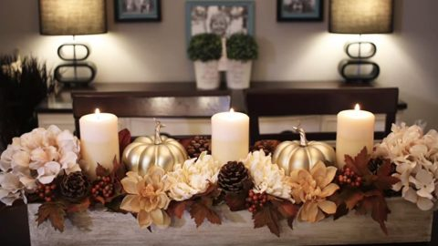 Dollar Store Craft Idea Pumpkin Floral Fall Centerpiece