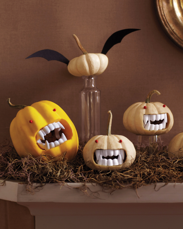 DIY Halloween Decorations - Fanged Pumpkins - Best Easy, Cheap and Quick Halloween Decor Ideas and Crafts for Inside and Outside Your Home - Scary, Creepy Cute and Fun Outdoor Project Tutorials http://diyjoy.com/cheap-diy-halloween-decorations