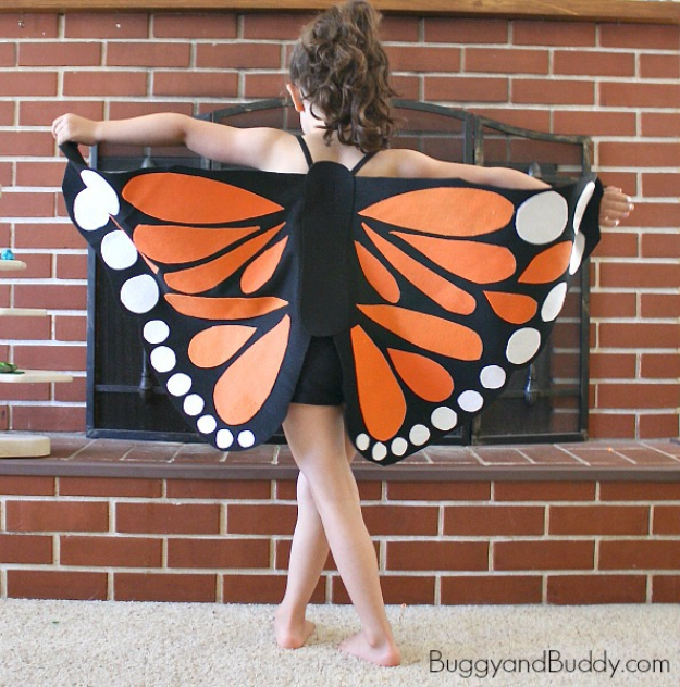 Best DIY Halloween Costume Ideas - Felt Monarch Butterfly Wings - Do It Yourself Costumes for Women, Men, Teens, Adults and Couples. Fun, Easy, Clever, Cheap and Creative Costumes That Will Win The Contest