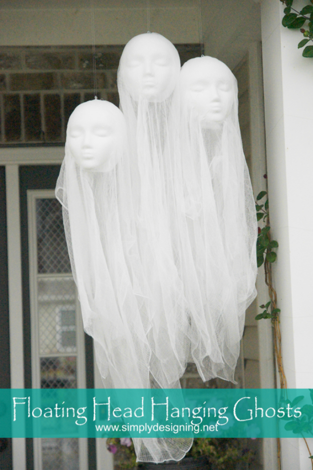 DIY Halloween Decorations - Floating Head Hanging Ghosts - Best Easy, Cheap and Quick Halloween Decor Ideas and Crafts for Inside and Outside Your Home - Scary, Creepy Cute and Fun Outdoor Project Tutorials