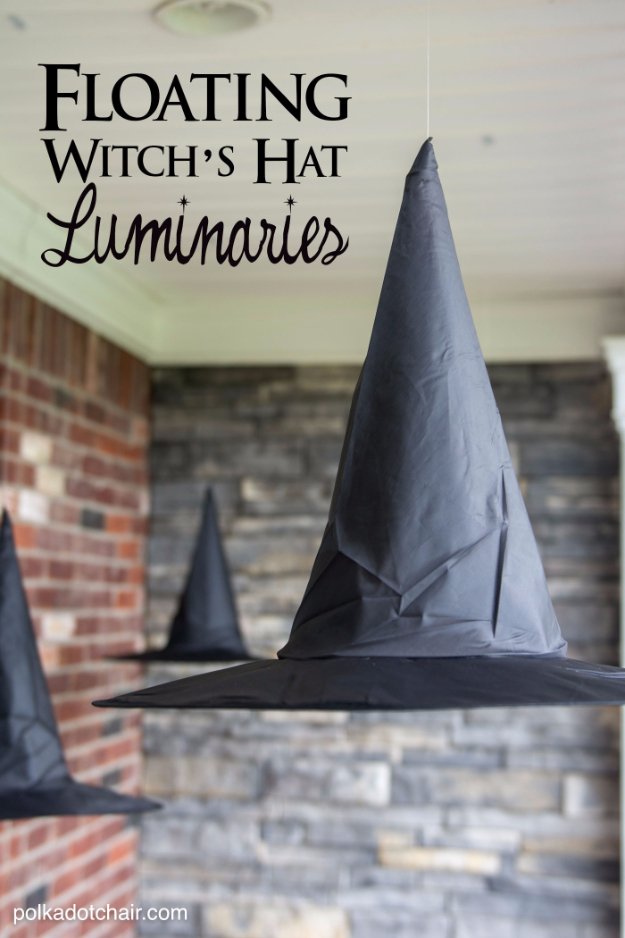 DIY Halloween Decorations - Floating Witch Hat Luminaries - Best Easy, Cheap and Quick Halloween Decor Ideas and Crafts for Inside and Outside Your Home - Scary, Creepy Cute and Fun Outdoor Project Tutorials http://diyjoy.com/cheap-diy-halloween-decorations