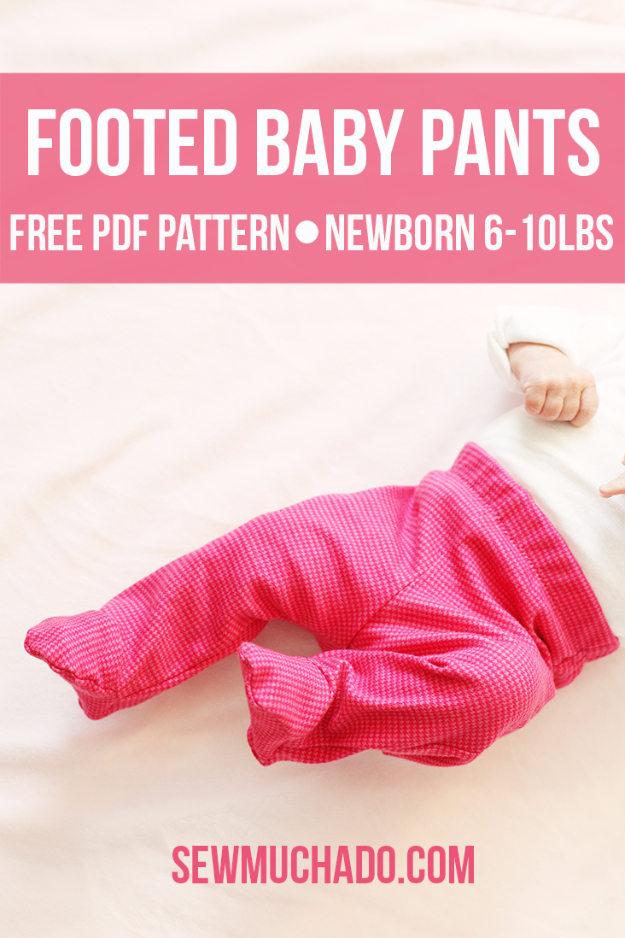 51 Things to Sew for Baby - Free Footed Baby Pants - Cool Gifts For Baby, Easy Things To Sew And Sell, Quick Things To Sew For Baby, Easy Baby Sewing Projects For Beginners, Baby Items To Sew And Sell #baby #diy #diygifts