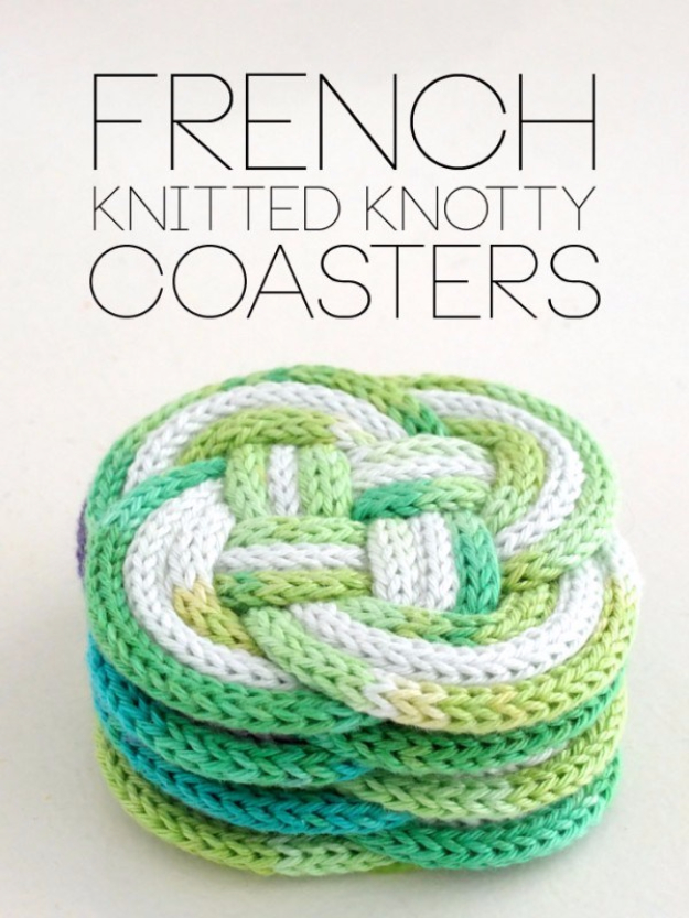 32 Easy Knitted Gifts - French Knitted Knotty Coasters - Last Minute Knitted Gifts, Best Knitted Gifts For Anyone, Easy Knitted Gifts To Make, Knitted Gifts For Friends, Easy Knitting Patterns For Beginners, Quick Knitting Ideas #knitting #gifts #diygifts