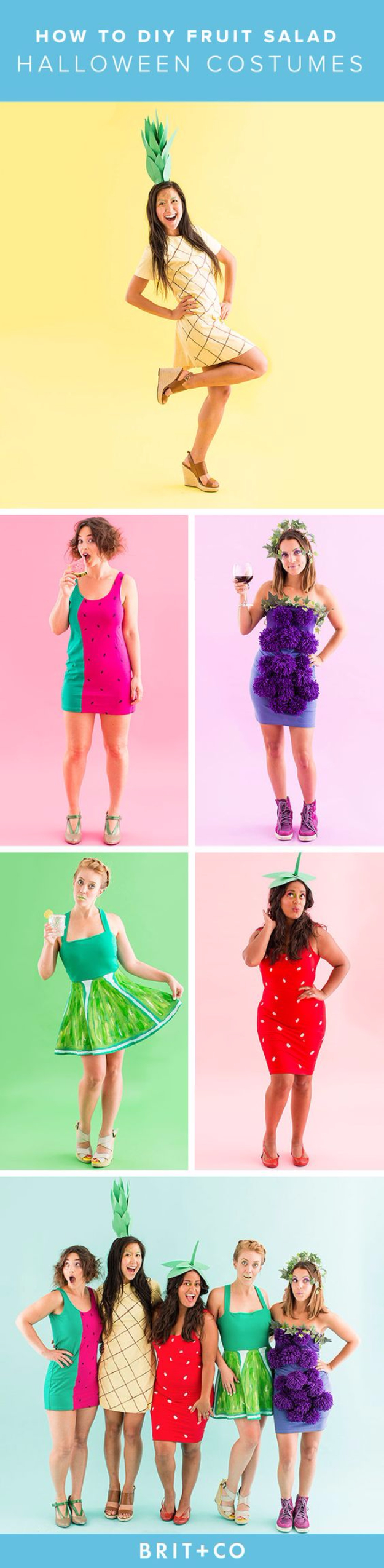 Best DIY Halloween Costume Ideas - Fruit Salad Group Halloween Costume for Groups - Do It Yourself Costumes for Women, Men, Teens, Adults and Couples. Fun, Easy, Clever, Cheap and Creative Costumes That Will Win The Contest http://diyjoy.com/best-diy-halloween-costumes