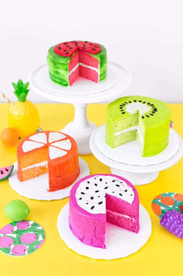 41 Best Homemade Birthday Cake Recipes - Fruit Slice Cakes - Birthday Cake Recipes From Scratch, Delicious Birthday Cake Recipes To Make, Quick And Easy Birthday Cake Recipes, Awesome Birthday Cake Ideas http://diyjoy.com/best-birthday-cake-recipes