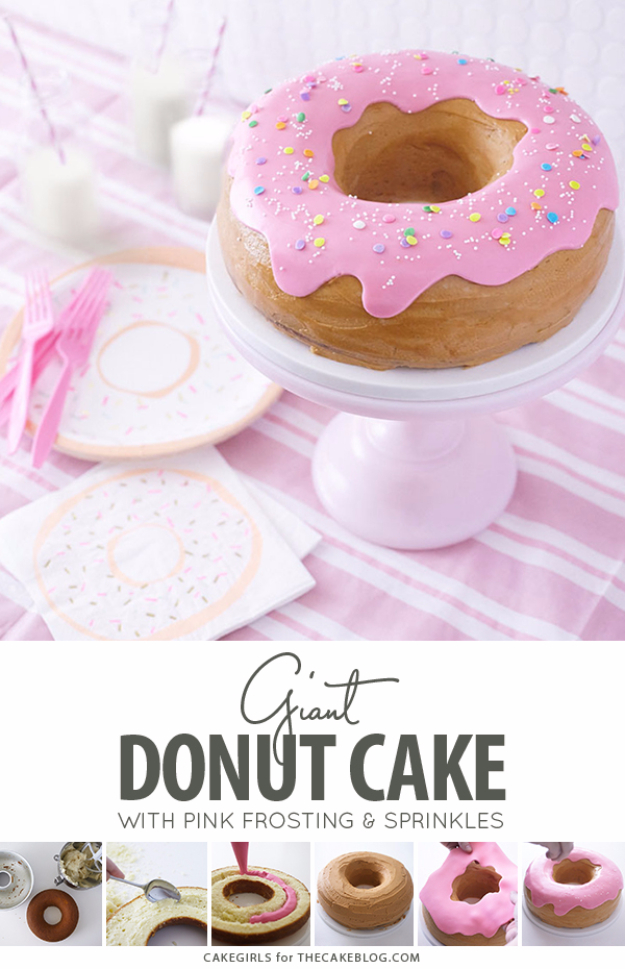 41 Best Homemade Birthday Cake Recipes - Giant Donut Cake - Birthday Cake Recipes From Scratch, Delicious Birthday Cake Recipes To Make, Quick And Easy Birthday Cake Recipes, Awesome Birthday Cake Ideas